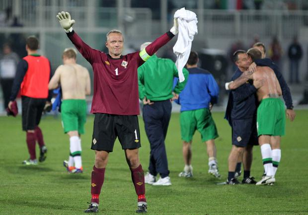 Maik Taylor says goodbye to the Northern Ireland fans following his final appearance between the posts in Italy on Tuesday evening