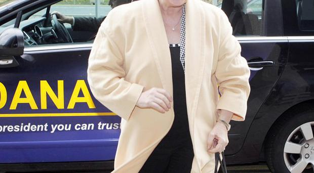 Presidential candidate Dana Rosemary Scallon arrives at RTE studios in Dublin