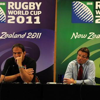 Martin Johnson (left) and Rob Andrew