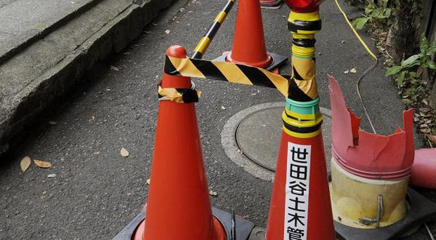 A no-entry zone in Tokyo's Setagaya district where officials found a radiation hotspot (Kyodo/AP)