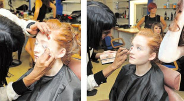 Janet Devlin getting a makeover and (right) the finished look