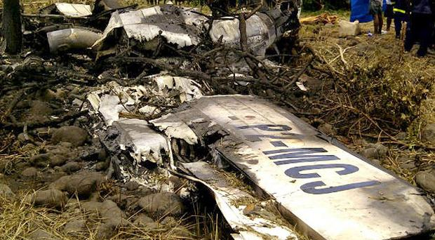 The crash site of an Airlines PNG Dash 8 plane near Madang in Papua New Guinea (AP)