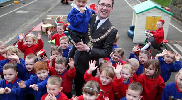 Lord Mayor of Belfast Niall O'Donnghaile visited Hope Primary School on the Shankill yesterday, named as a finalist for the Help Dora Help Fund award