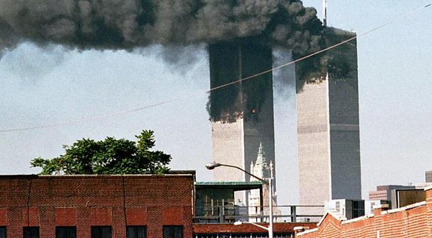 The World Trade Centre after terrorists crashed two hijacked planes into the towers, killing thousands
