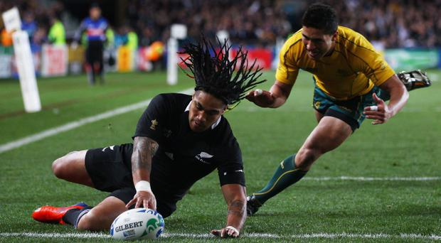 AUCKLAND, NEW ZEALAND - OCTOBER 16: Ma'a Nonu of the All Blacks goes over to score their first try during semi final two of the 2011 IRB Rugby World Cup between New Zealand and Australia at Eden Park on October 16, 2011 in Auckland, New Zealand. (Photo by Hannah Johnston/Getty Images)