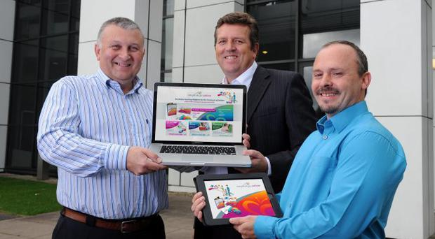 Belfast technology company Simple Steps invested £140,000 into a new online system which has resulted in their first export deal in Portugal. Marking the good news are Prof Lester Manley, chairman and chief executive of Simple Steps, Stephen Wightman of Invest NI and Dr Tony Byrne, chairman of Parents' Education as Autism Therapists
