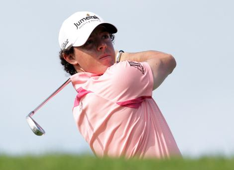 Rory McIlroy on his way to a share of the PGA Grand Slam lead yesterday along with Keegan Bradley
