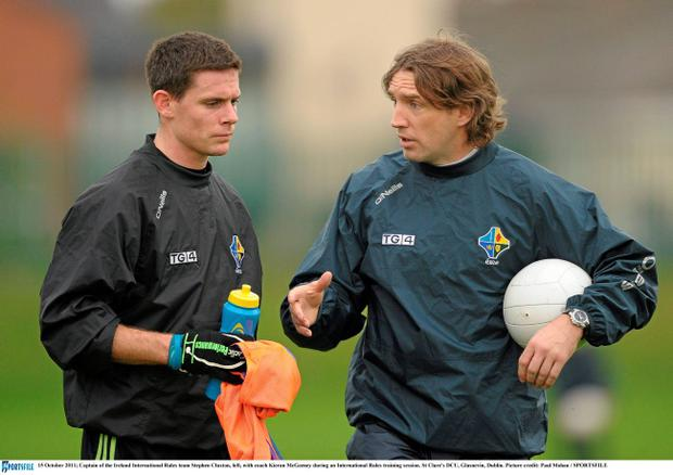 Dublin's All-Ireland hero Stephen Cluxton, captain of the Ireland International Rule Series team, chats with Kieran McGeeney at a training session