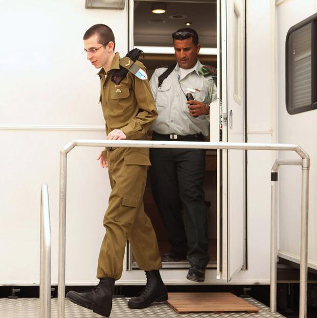 Freed Israeli soldier Gilad Shalit at an army base near the Kerem Shalom crossing near Gaza (AP)