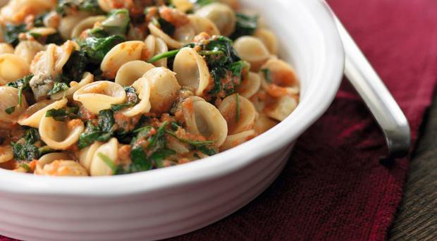 Orecchiette with gorgonzola, spinach and roasted red pepper sauce