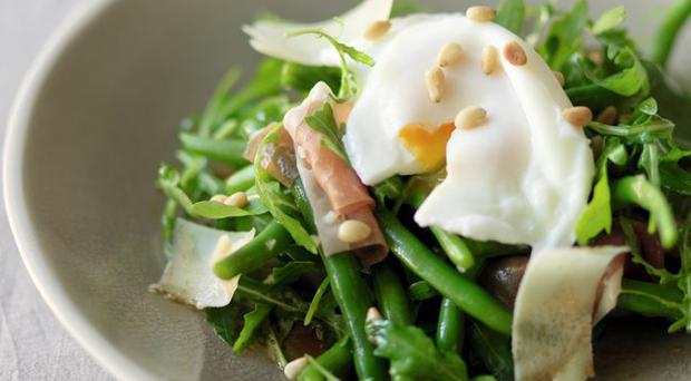French bean, pine nut and egg salad