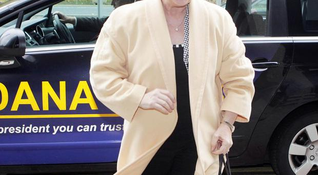 Presidential candidate Dana Rosemary Scallon escaped serious injury when her campaign car suffered a tyre blow-out