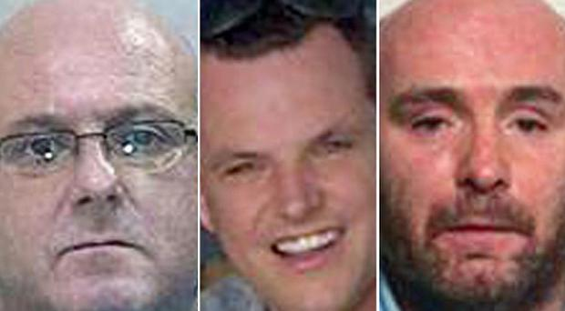 Dominic Powell, left, Simon Dutton, centre and Derek Ferguson are on the run