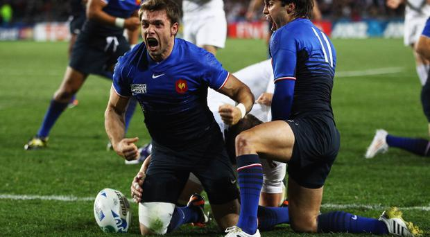 France's Vincent Clerc celebrates his try during the World Cup quarter-final win over England at Eden Park