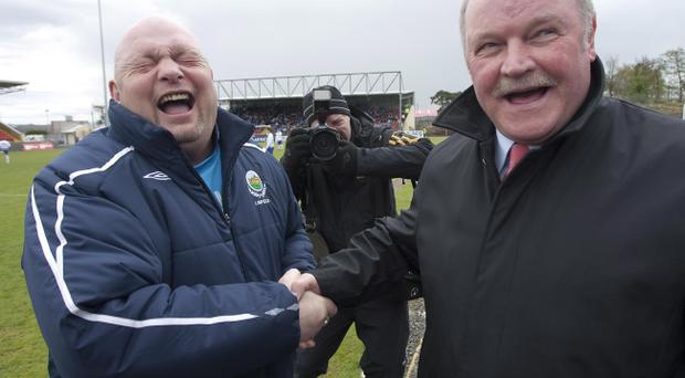 Linfield boss David Jeffrey and Portadown counterpart Ronnie McFall get on very well but they will be fighting hard to steal a march in the title race
