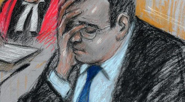 An artist's sketch of Vincent Tabak giving evidence at Bristol Crown court (Elizabeth Cook)