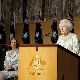 The Queen was watched by Australian PM Julia Gillard as she spoke in the Government Building in Canberra