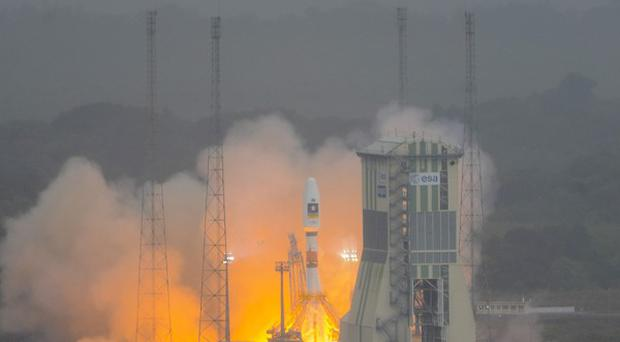 Russia's Soyuz rocket lifts off for the first time from Europe's space base in Kourou, French Guiana (AP)