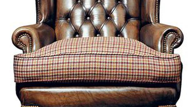 <b>In the club:</b><br/> Channel the old-boys' club vibe with this James Boswell chair with tweed check seat, £1,650, by Fleming & Howland, fleminghowland.com