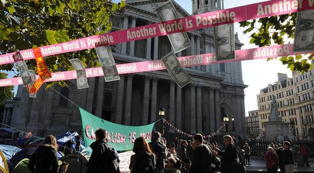 The Occupy the London Stock Exchange demonstration outside St Paul's Cathedral
