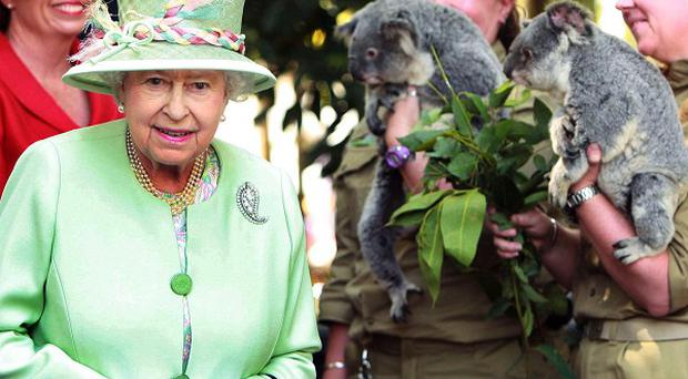 The Queen and Prince Philip view koalas during a tour of Rain Bank, in Brisbane, Australia (AP)