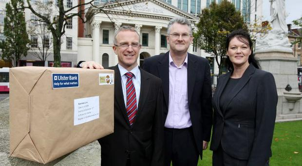 The Business Live roadshow was launched by (left-to-right) Ian Jordan of Ulster Bank, Fionan Murray of Smallbusinesscan.com and Karen Loughrey of Ulster Bank