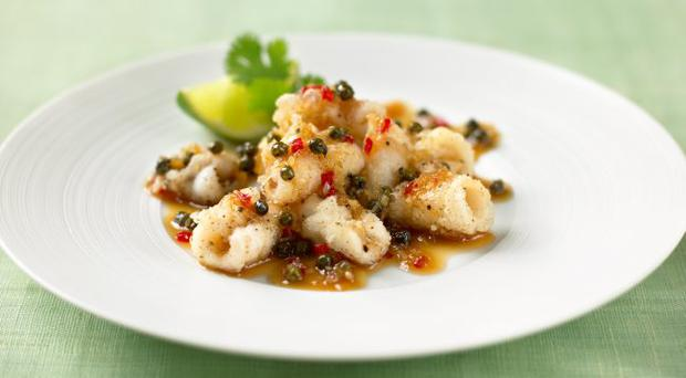 Crispy squid with green peppercorn and chilli dressing