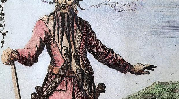 A portrait of pirate Blackbeard whose real name is thought to be either Edward Teach, Edward Thatch or Tache(AP)
