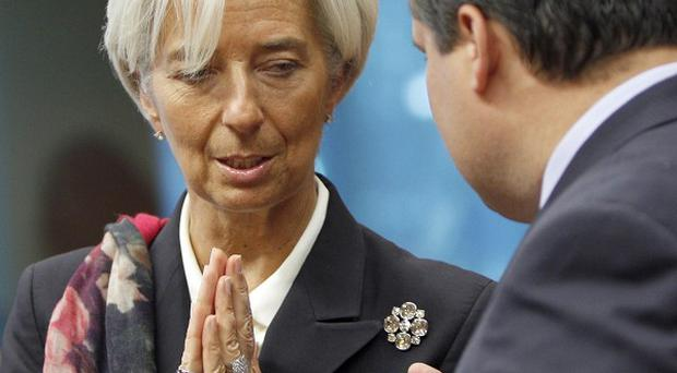Managing director of the International Monetary Fund Christine Lagarde during a meeting of eurozone finance ministers in Brussels (AP)