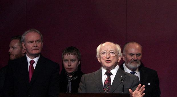President-elect Michael D Higgins makes his acceptance speech after his election victory is announced at Dublin Castle