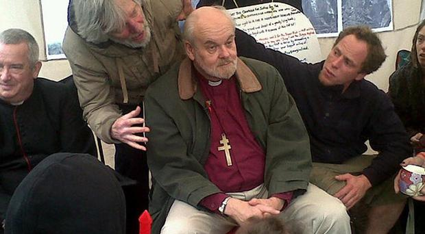 The Right Reverend Dr Richard Chartres, Bishop of London, meets a select group from the Occupy London movement