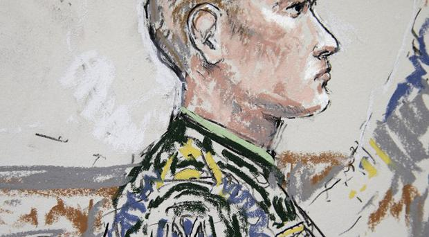 US army Staff Sgt Calvin Gibbs in a courtroom sketch at Joint Base Lewis-McChord in Washington state (AP)