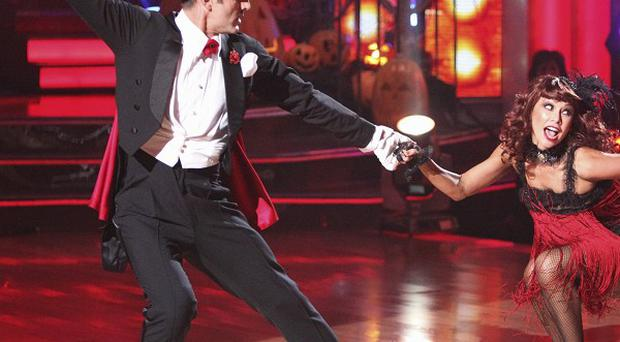 David Arquette and his partner Kym Johnson perform on Dancing With The Stars