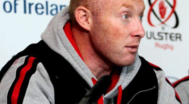 Stand in: Neil Doak conducted yesterday's press conference