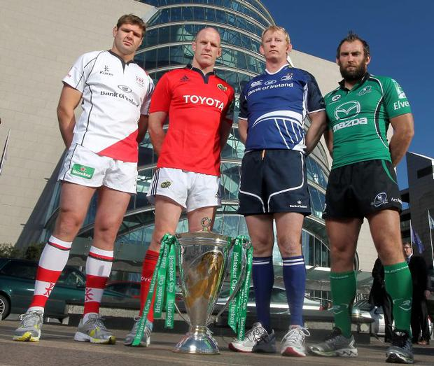 Euro warriors: Ulster captain Johann Muller is joined by his Munster counterpart Paul O'Connell, Leinster captain Leo Cullen and John Muldoon of Connacht at the launch of the Heineken in Dublin yesterday