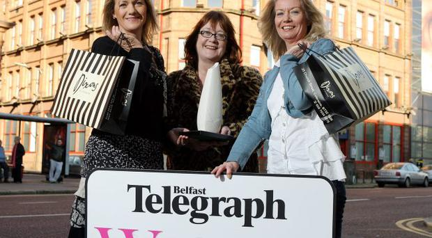 Search begins: at the launch of the awards were Janet Barr (left) and Barbara Hill (right), of main sponsors Dixons, with Jane Hardy