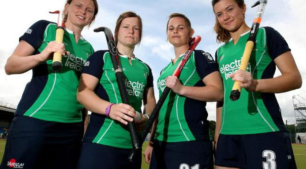 Centre stage: Four of the six Ulster players who have been named in the Irish women's Central Preparation Programme in Dublin ahead of the Olympic Qualifier; from left, Alex Speers, Lizzie Colvin, Shirley McCay and Michelle Harvey. The other Ulster girls named are Hannah Bowe and Emma Clarke.