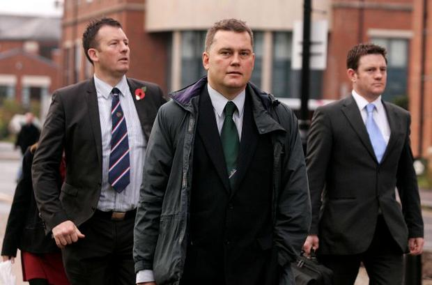 BNP representative Patrick Harrington defended the party from allegations of unfair dismissal yesterday. He arrived at the tribunal with BNP member Adam Walker (left)