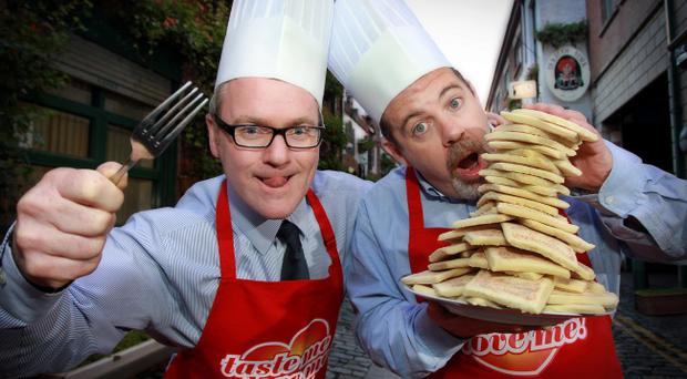 Comedy duo Conor Grimes and Alan McKee help Sunblest celebrate topping a recent blind taste test as the nation's favourite potato farl by launching a 'pop-up' kitchen at the Black Box, Belfast.