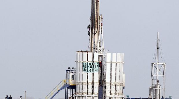 Protestors scaled the shale gas rig at Banks, near Southport