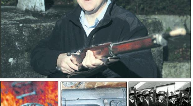 Clockwise from top: history enthusiast Ernest White with the 1908 UVF rifle that he found in the attic of his house after having lived there for over 15 years, UVF men in 1913 with similar-looking rifles, and a handgun and the UVF red hand insignia also discovered at the same time