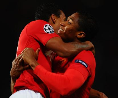 Number one: Manchester United's Antonio Valencia (right) celebrates his opening goal against Galati last night with Nani