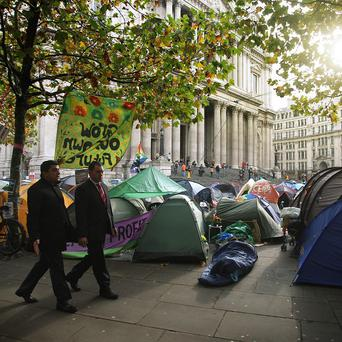 Protesters remain unmoved outside St Paul's Cathedral
