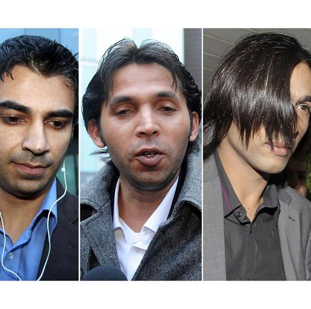 Pakistan cricketers Salman Butt, left, Mohammad Asif and Mohammad Amir are facing time behind bars