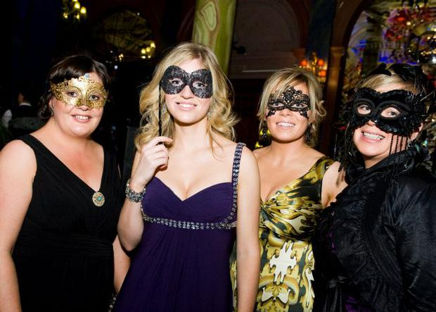 NOW's masquerade ball at Cafe Vaudeville Belfast, pictured Jayne, Caroline and Helen McSstay and Emma MacPherson