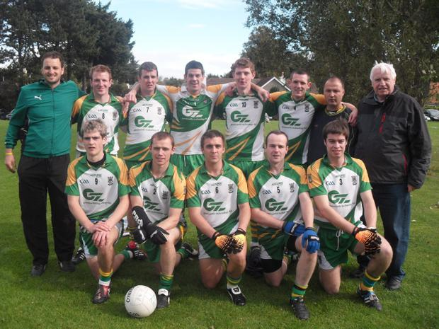 The An Riocht team which reached the semi-finals of the recent All-Ireland Club Sevens competition hosted by Kilmacud Crokes in Dublin. Included is manager Steven Poacher (extreme left) and selector Tom Cunningham (extreme right)