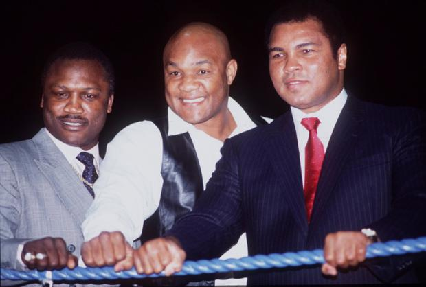 Heavyweight legends Joe Frazier, George Foreman and Muhammad Ali