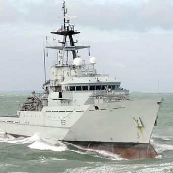 HMS Tyne is helping in the search for a missing person following a light aircraft crash in the English Channel
