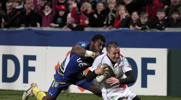 Ian Humphreys scores a try against Clermont at Ravenhill.