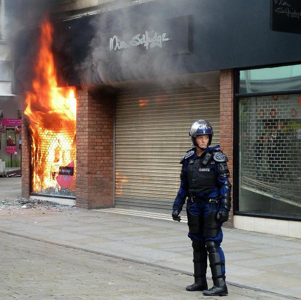 A police chief has blamed people 'copying' violence in London for sparking the Manchester riots